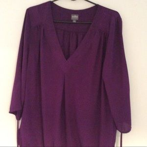 3/4 sleeve purple blouse